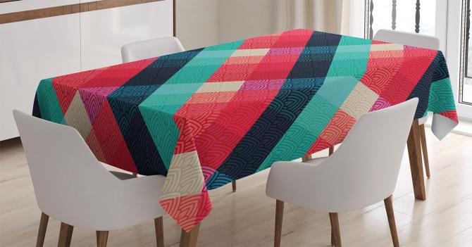 Şık Ekose Desenli Masa Örtüsü Mor Mavi ve Kırmızı