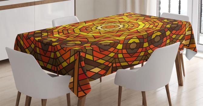 Sarı Turuncu Güneş ve Yaprak Desenli Masa Örtüsü Şık