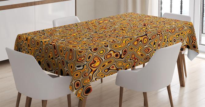 Sarı Kahverengi Şal Desenli Masa Örtüsü Şık Tasarım