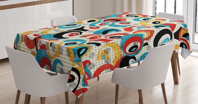 Modern Rengarenk Göz Desenli Masa Örtüsü Beyaz Fonlu