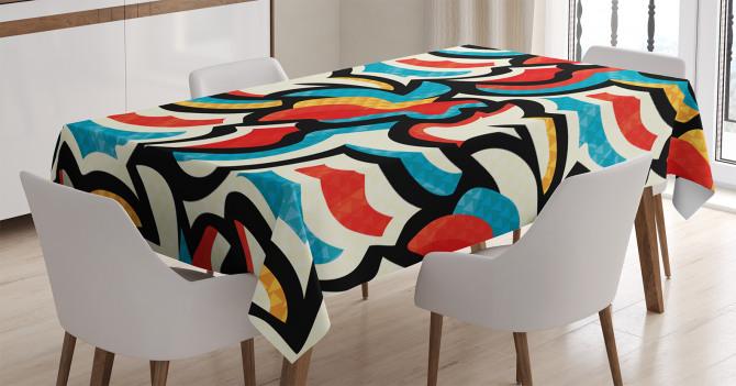 Rengarenk Karmaşık Desenli Masa Örtüsü Dekoratif