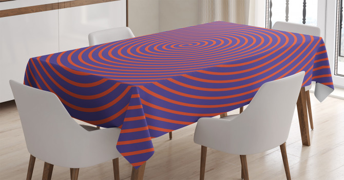 Şık Girdap Desenli Masa Örtüsü Turuncu ve Lacivert