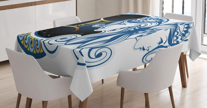 İkizler Burcu Desenli Masa Örtüsü Lacivert ve Mavi