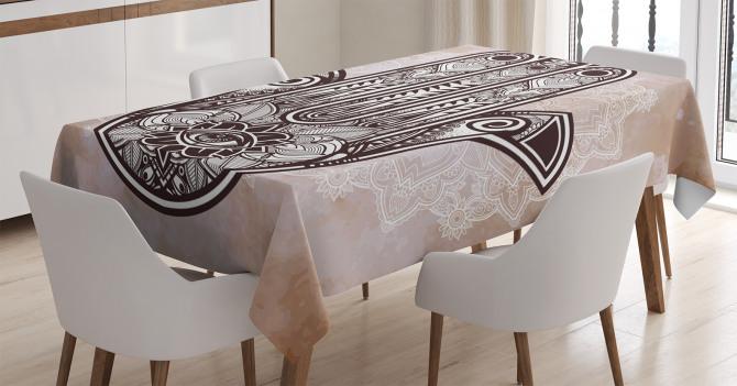 Çiçekli Fatımanın Eli Desenli Masa Örtüsü Kahverengi