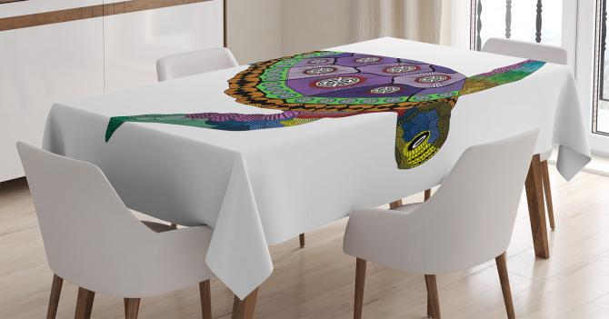 Deniz Kaplumbağası Desenli Masa Örtüsü Rengarenk