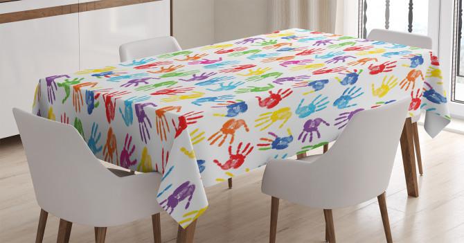 Rengarenk El İzi Desenli Masa Örtüsü Şık Tasarım