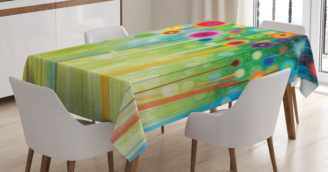 Rengarenk Masa Örtüsü Suluboya Resmi Etkili