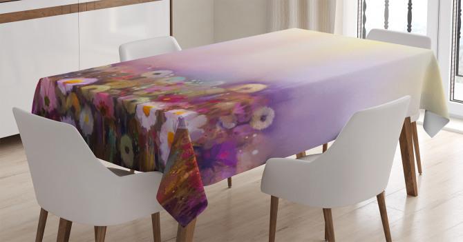 Yağlı Boya Resmi Etkili Masa Örtüsü Mor Çiçekler