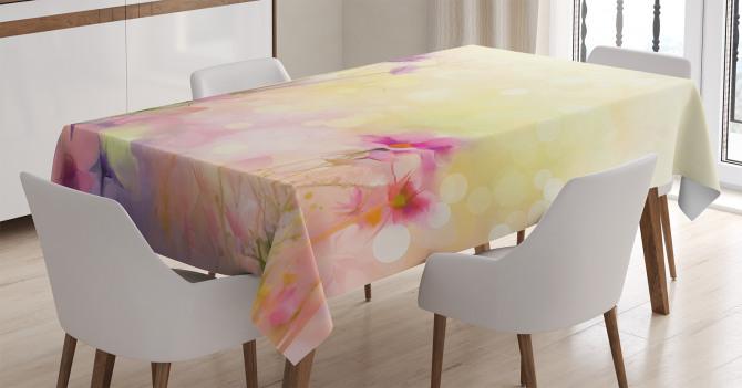 Bahar Temalı Masa Örtüsü Pastel Romantik Şık Tasarım