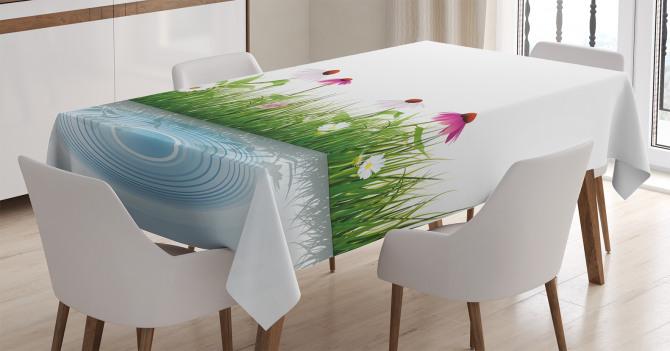 Bahar Temalı Masa Örtüsü Papatya Gölet Pembe Beyaz