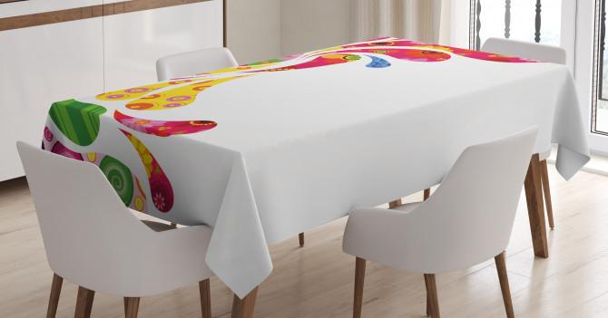Damla ve Çiçek Desenli Masa Örtüsü Şık Tasarım Trend