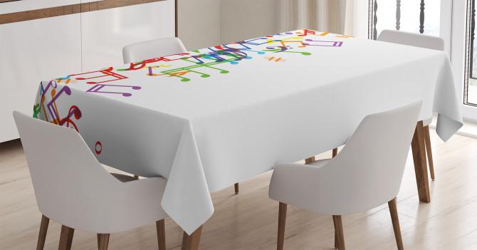 Rengarenk Nota Desenli Masa Örtüsü Müzik Beyaz Zemin