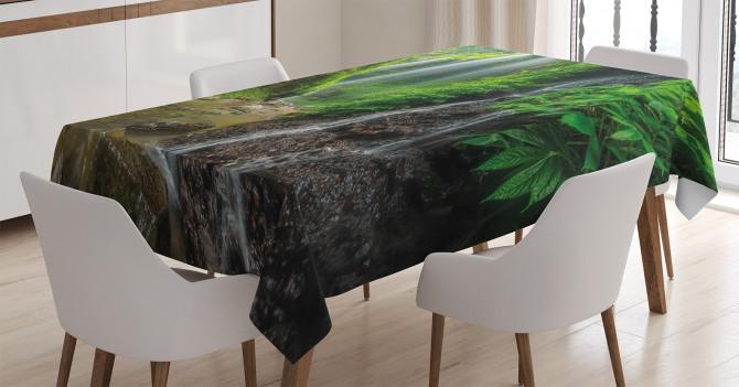 Orman ve Şelale Manzaralı Masa Örtüsü Ağaç Yeşil