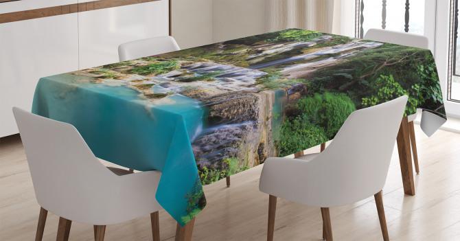Mavi Şelale Manzaralı Masa Örtüsü Yeşil Ağaç Doğa
