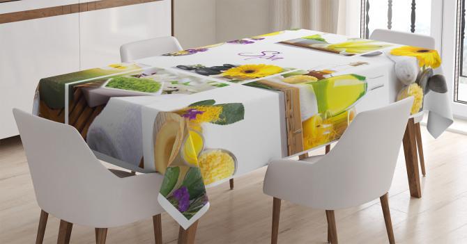 Dinlendirici Spa Temalı Masa Örtüsü Sarı Mor Çiçekli
