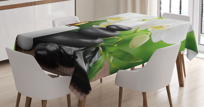 Taş Orkide ve Mum Temalı Masa Örtüsü Spa Efektli