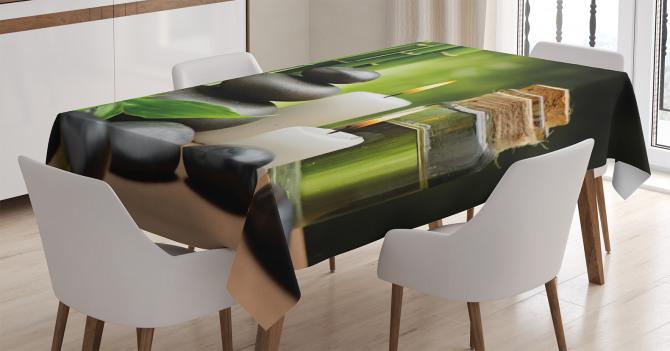 Bambu Taş ve Mum Temalı Masa Örtüsü Şık Dekoratif