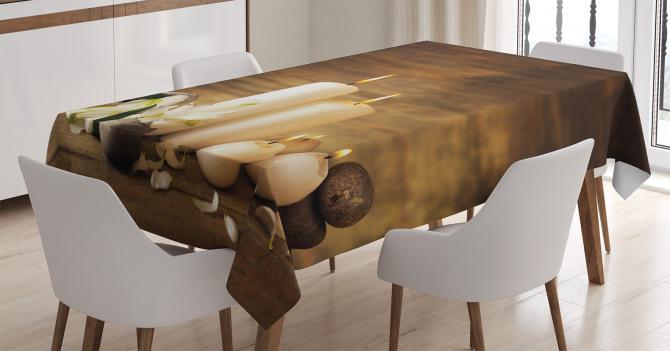 Mumlar ve Taşlar Temalı Masa Örtüsü Feng Shui Etkili