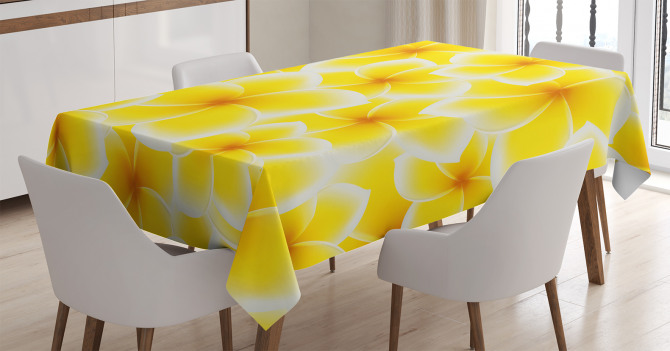 Sarı Beyaz Çiçek Desenli Masa Örtüsü Şık Çeyizlik