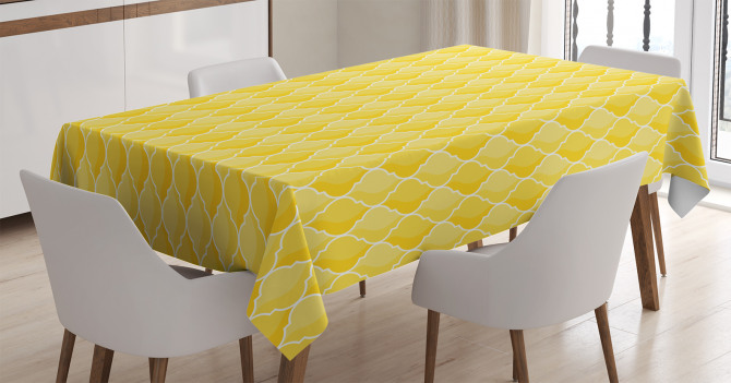 Sarı Duvar Kağıdı Desenli Masa Örtüsü Limon Formlu