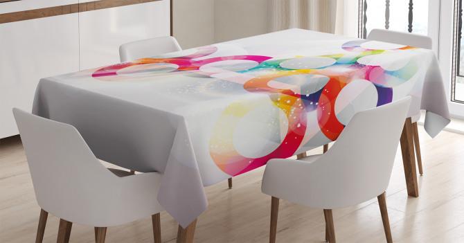 Rengarenk Çember Desenli Masa Örtüsü Işık Efektli