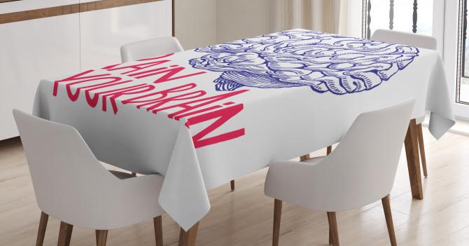İnsan Beyni Desenli Masa Örtüsü Kırmızı Siyah Beyaz