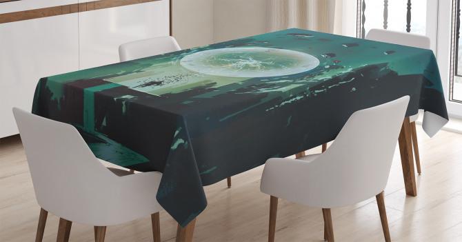 Yıldırım Küresi Temalı Masa Örtüsü Yeşil Şık Tasarım