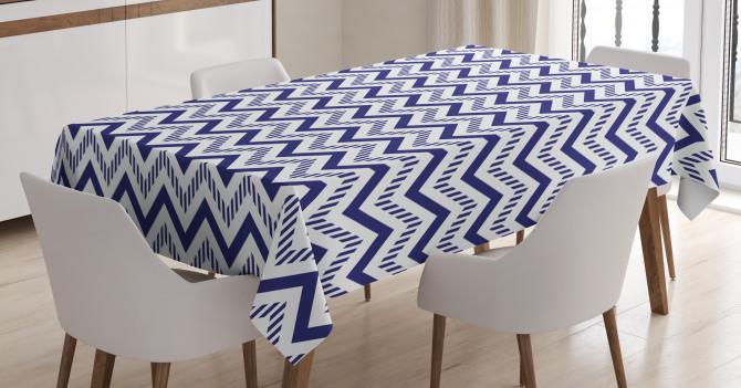 Lacivert Zikzak Desenli Masa Örtüsü Şık Dekoratif