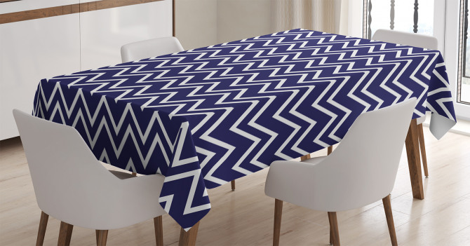 Dekoratif Zikzak Desenli Masa Örtüsü Beyaz Lacivert