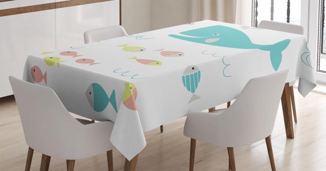 Mavi Balina ve Balık Desenli Masa Örtüsü Beyaz Fonlu