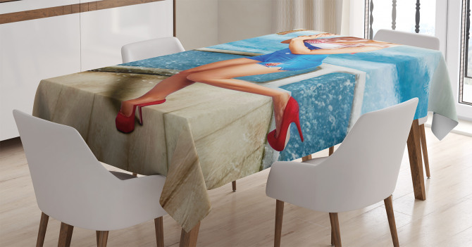 Denizci Kız Temalı Masa Örtüsü Mavi Şık Tasarım