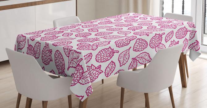 Ahududu ve Yaprakları Desenli Masa Örtüsü Dekoratif