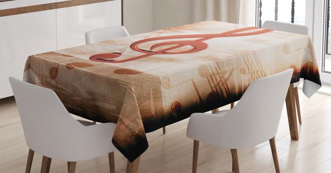 Nota Desenli Masa Örtüsü Bej Kahverengi Şık Tasarım