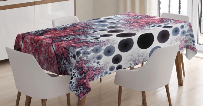 Rengarenk Küre Desenli Masa Örtüsü Kırmızı Siyah
