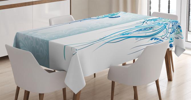 Ahtapot Desenli Masa Örtüsü Mavi Deniz Şık Tasarım