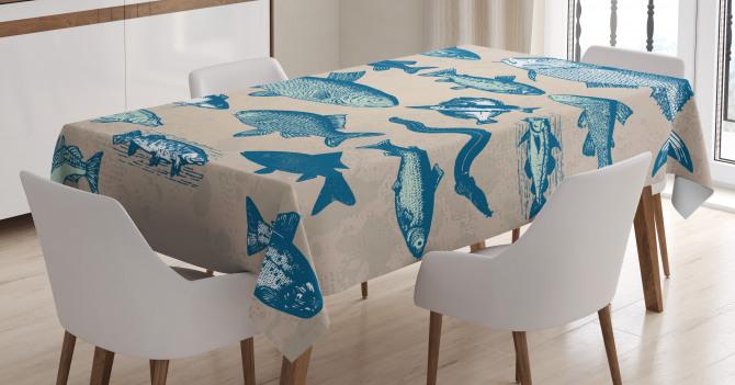 Balık Desenli Masa Örtüsü Bej Mavi Şık Tasarım Trend