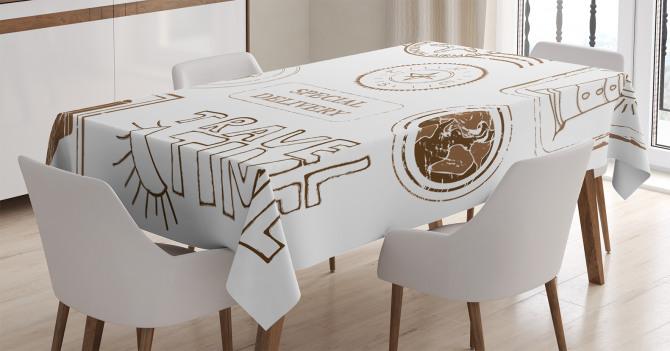 Seyahat Temalı Masa Örtüsü Kahverengi Beyaz Şık