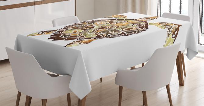 Kaplumbağa Desenli Masa Örtüsü Kahverengi Yeşil Şık
