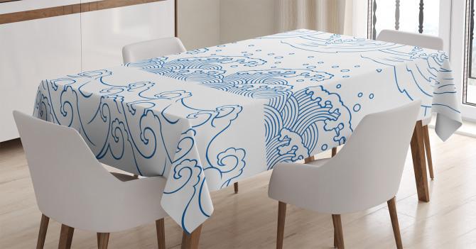 Dalga Desenli Masa Örtüsü Lacivert Beyaz Şık Tasarım