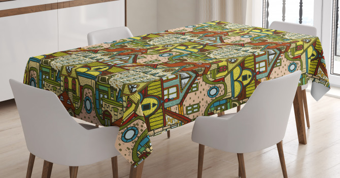 Old City Colorful Town Tablecloth
