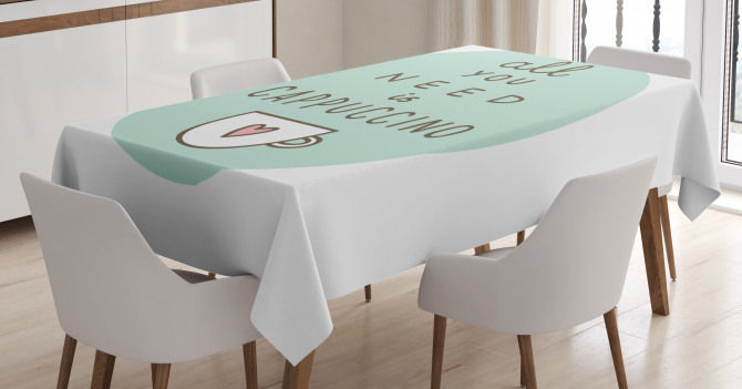 Coffee Quote Heart Tablecloth