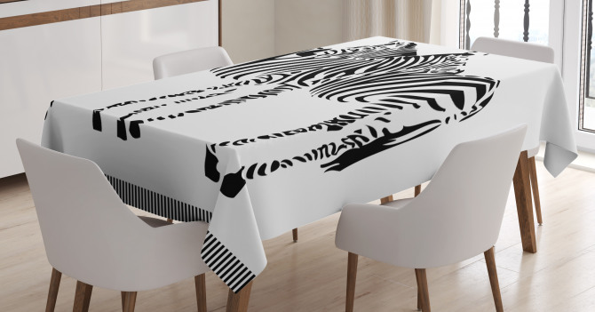 Two Zebras Silhouette Tablecloth