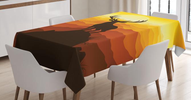 Deer Sunset Mountains Tablecloth