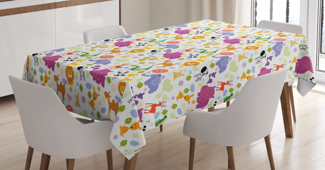 Doodle Wild Animals Tablecloth
