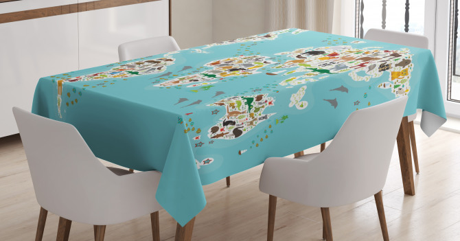 World Map Local Animal Tablecloth