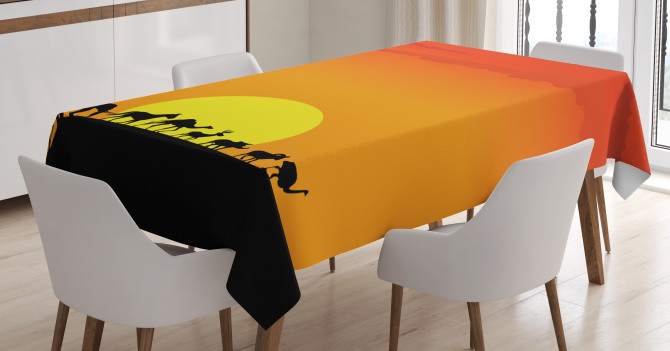 Animals Sun Silhouette Tablecloth