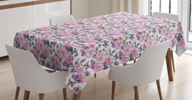 Swallowtails and Roses Tablecloth