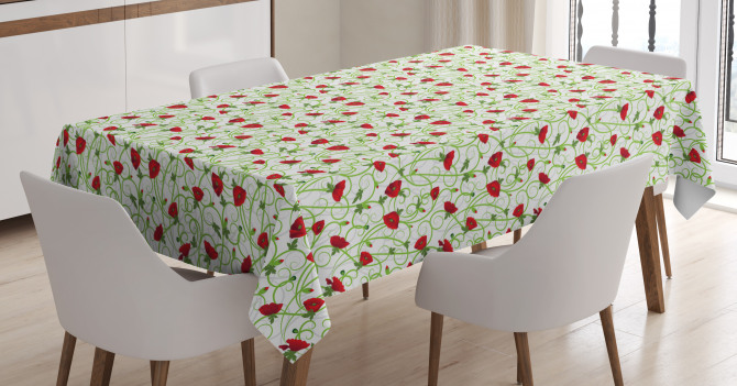 Twiggy Poppy Flowers Tablecloth