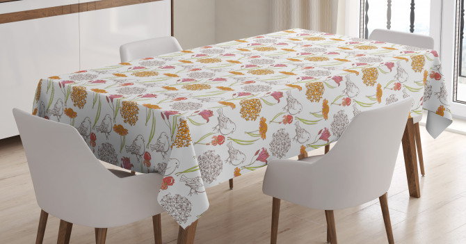 Spring Themed Foliage Tablecloth