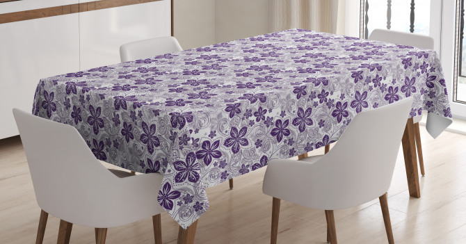 Stylized Petals Curves Tablecloth